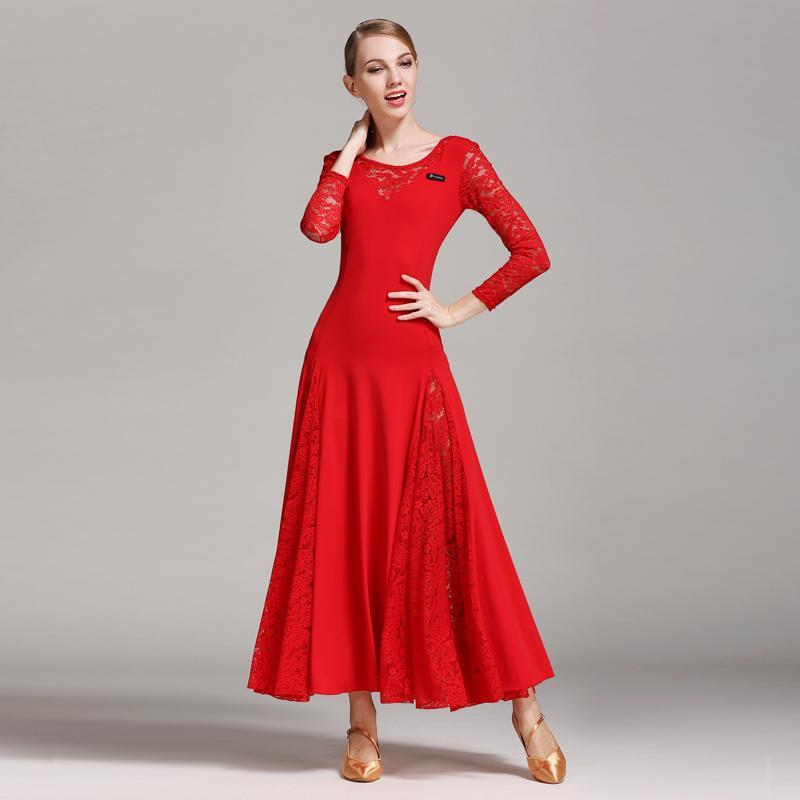 Red lace ballroom dress