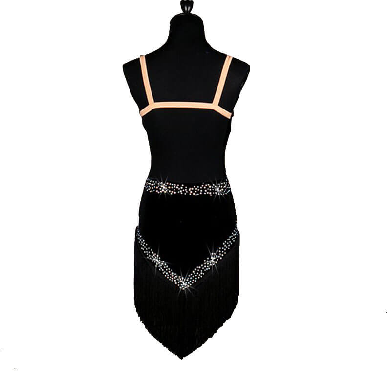 Jewelled V Neck Latin Dance Dress-Black
