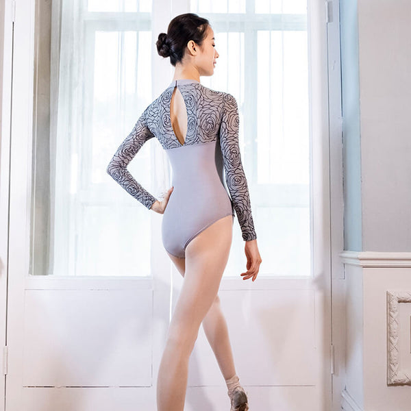 Round Neck Long Sleeve Ballet Leotard with Lace
