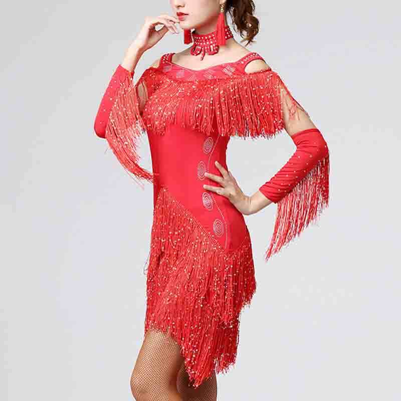 Sequin Diamond Tassel Latin Dance Dress
