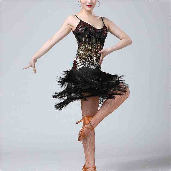 Sequin Tassel Latin Dance Dress