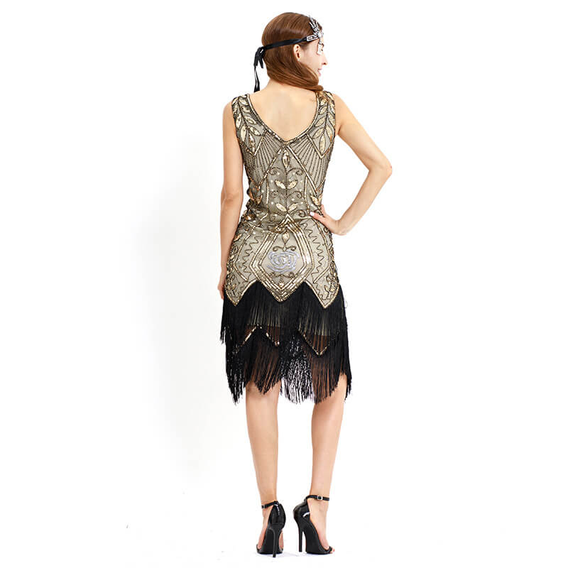 Sheath Calf-Length 1920s Dress with Tassels