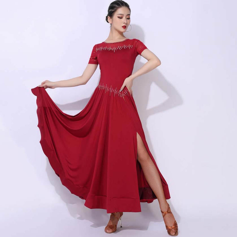 Short Sleeve A-Line Split Long Ballroom Dress