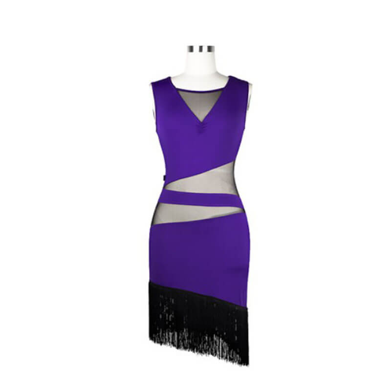 Sleeveless Patchwork Latin Dress with Mesh