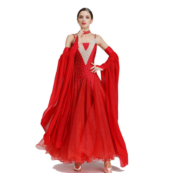 Sleeveless A-Line Maxi Ballroom Dress-Red