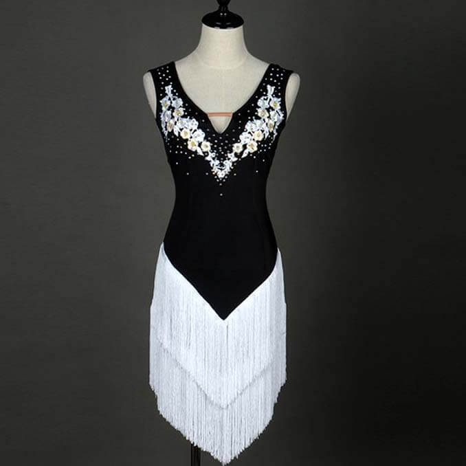 Sleeveless Latin Dance Dress With Tassels-White