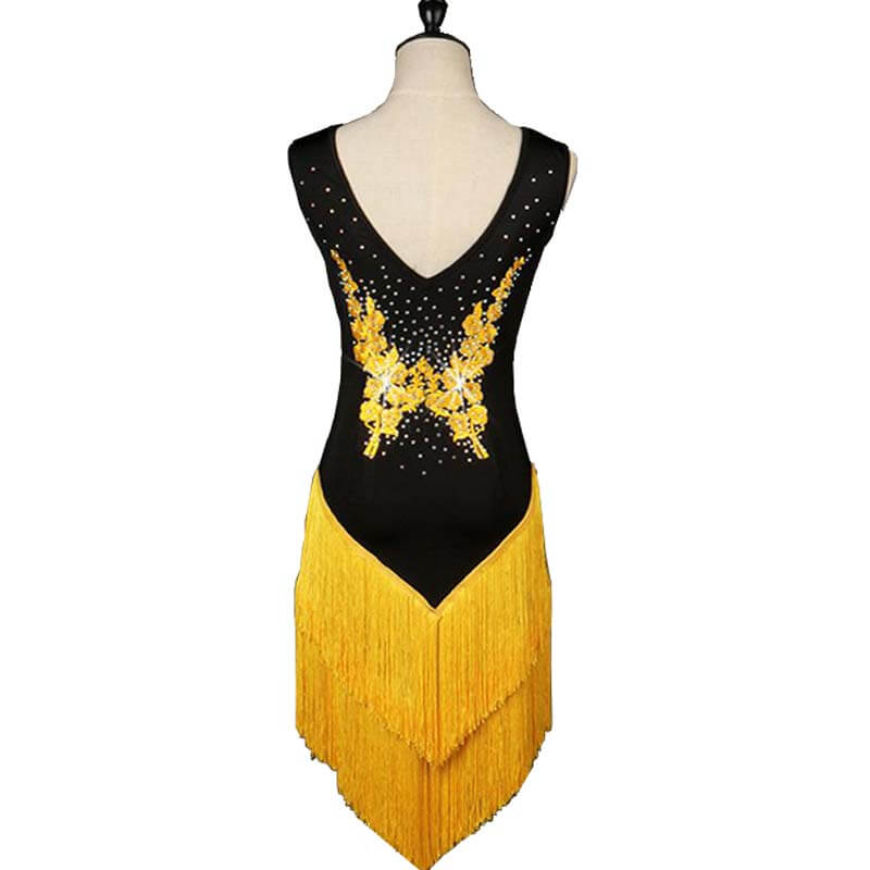 Sleeveless Latin Dance Dress With Tassels-Yellow