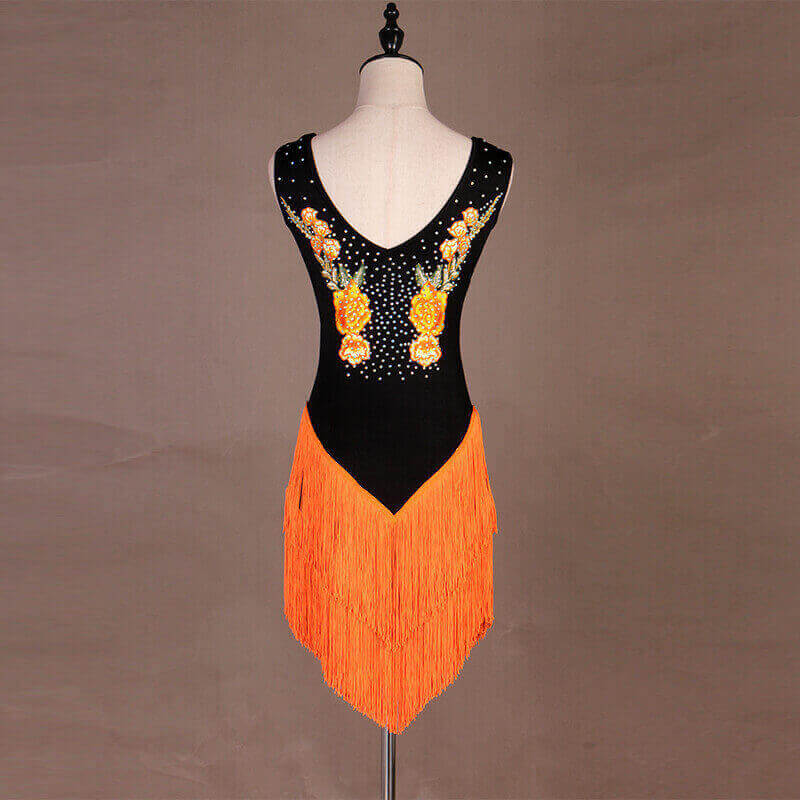Sleeveless Latin Dance Dress With Tassels-Orange