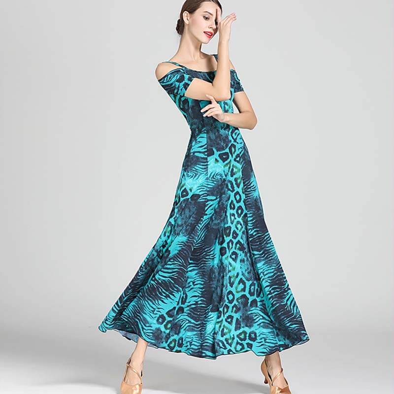 Slip Calf-Length Ballroom Dress-Blue