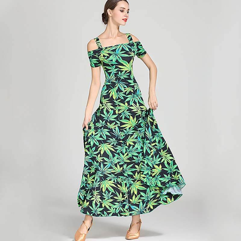 Slip Calf-Length Ballroom Dress-Green