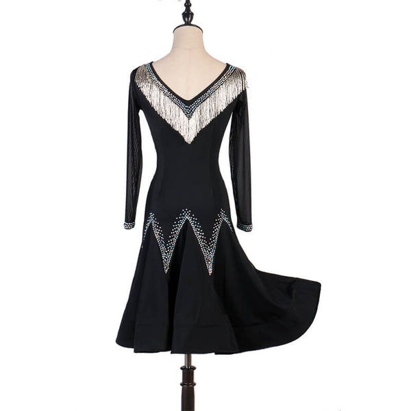 Sparkly A-Line Latin Dress with Rhinestones