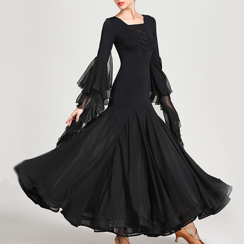 Square Neck Long Sleeve Ballroom Dress with Lace
