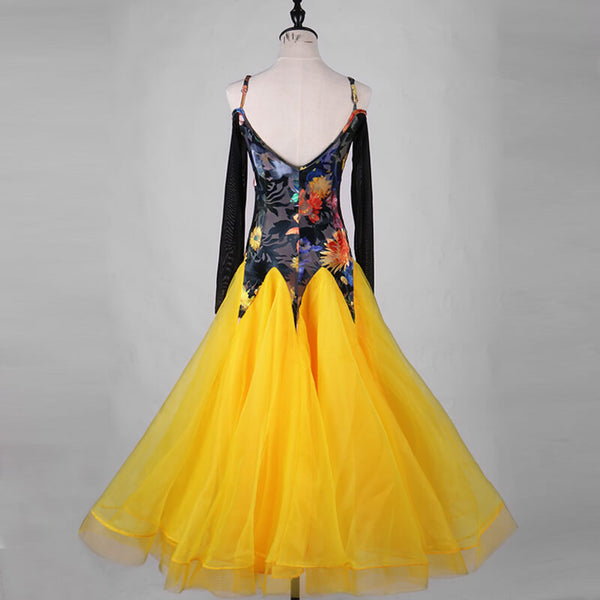 Swing Long Ballroom Dress with Flowers
