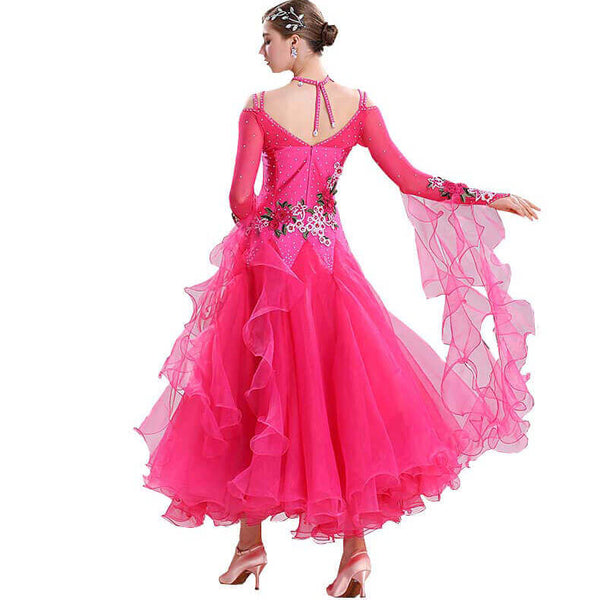 Swing Maxi Ballroom Dress with Embroidery-Rose Red