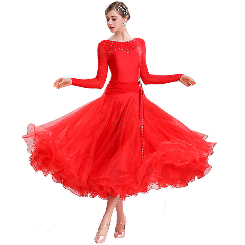 Swing Maxi Ballroom Dress with Rhinestones-Red