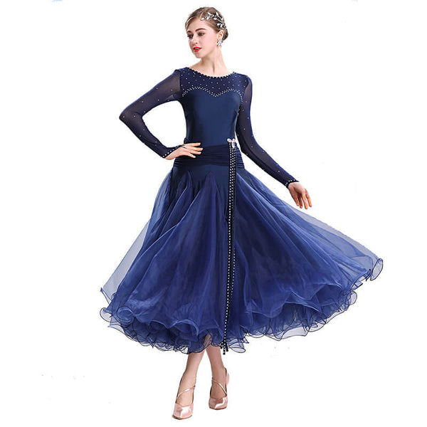 Swing Maxi Ballroom Dress with Rhinestones-Navy
