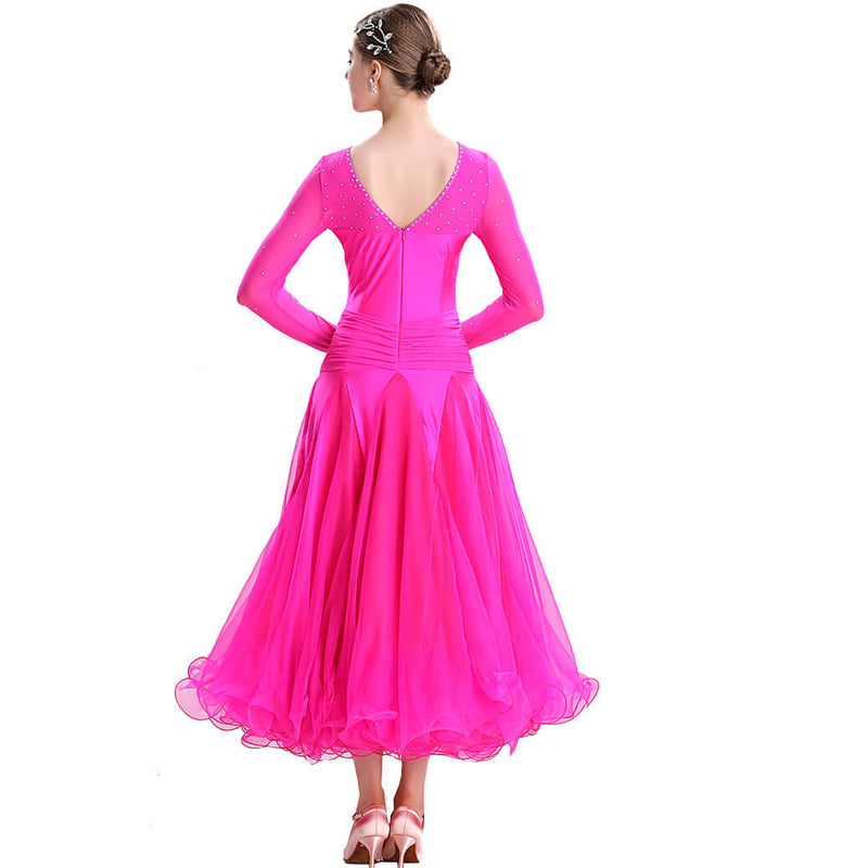 Swing Maxi Ballroom Dress with Rhinestones-Rose Red