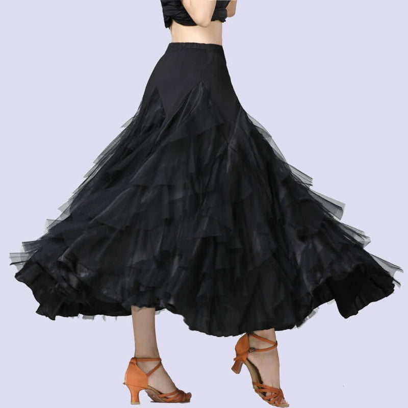 Swing Mesh Ballroom Dance Skirt-Black