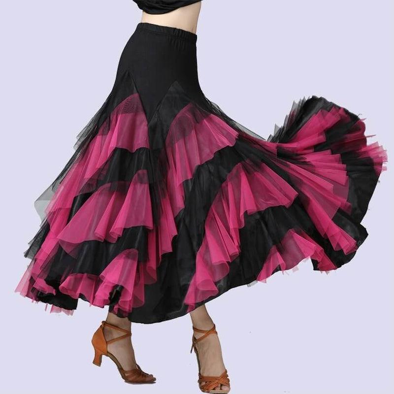 Swing Mesh Ballroom Dance Skirt-Pink