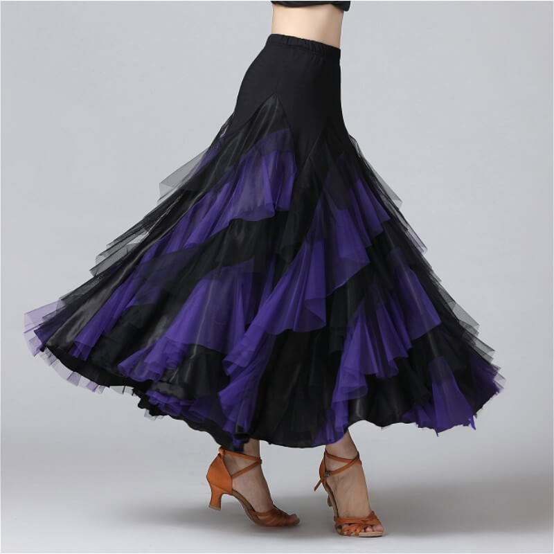 Swing Mesh Ballroom Dance Skirt-Purple