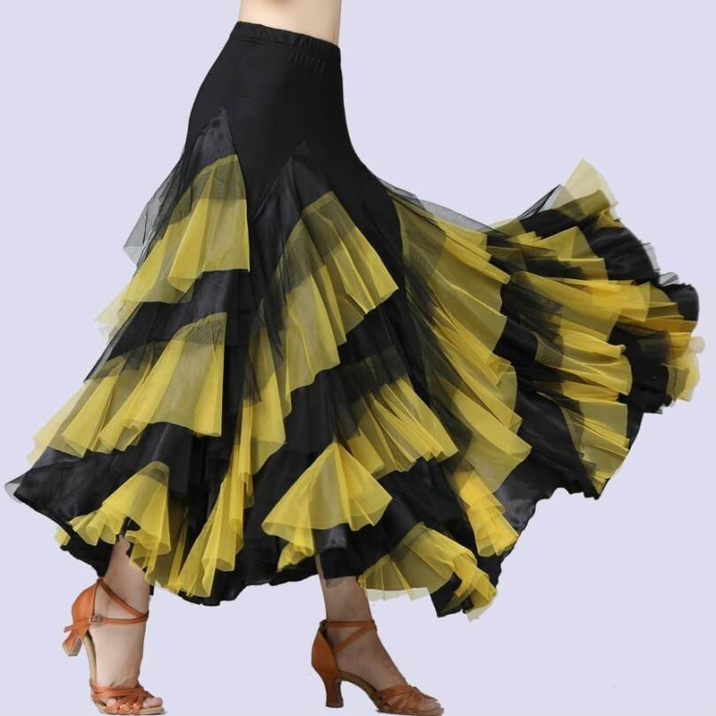 Swing Mesh Ballroom Dance Skirt-Yellow