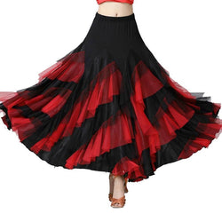 Swing Mesh Ballroom Dance Skirt-Red