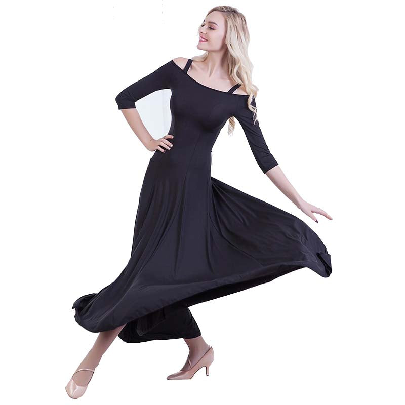 Swing Practice Ballroom Dance Dress-Black 3