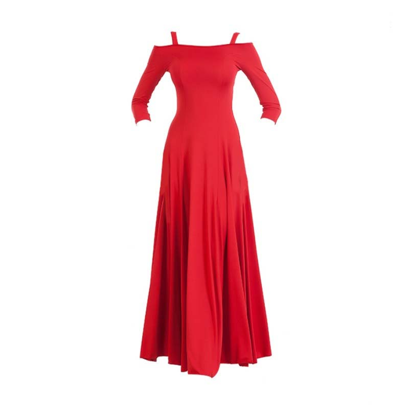 Swing Practice Ballroom Dance Dress-Red-3