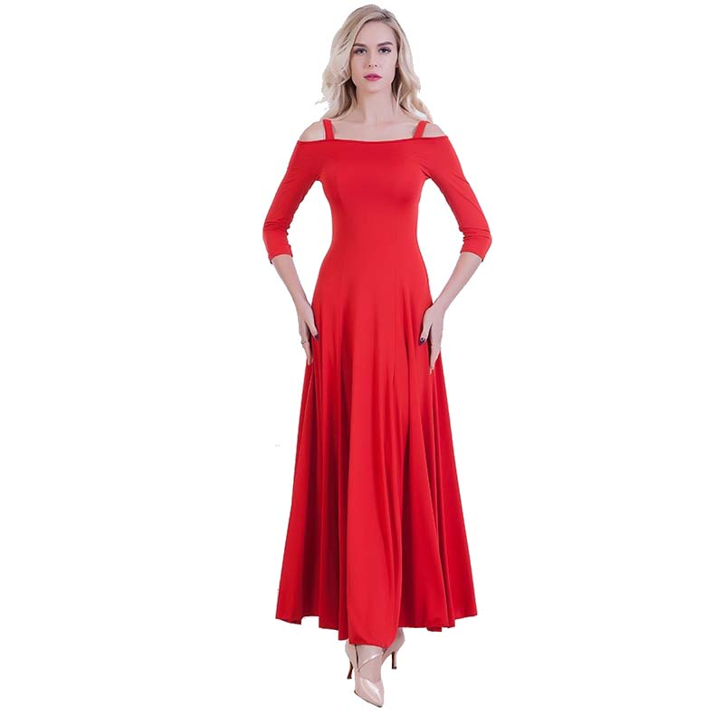 Swing Practice Ballroom Dance Dress-Red