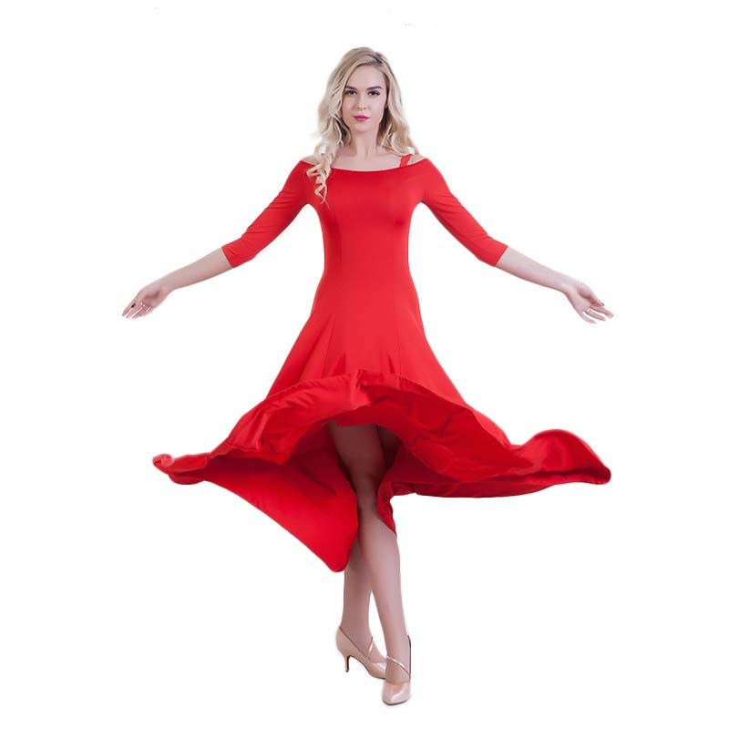 Swing Practice Ballroom Dance Dress-Red2