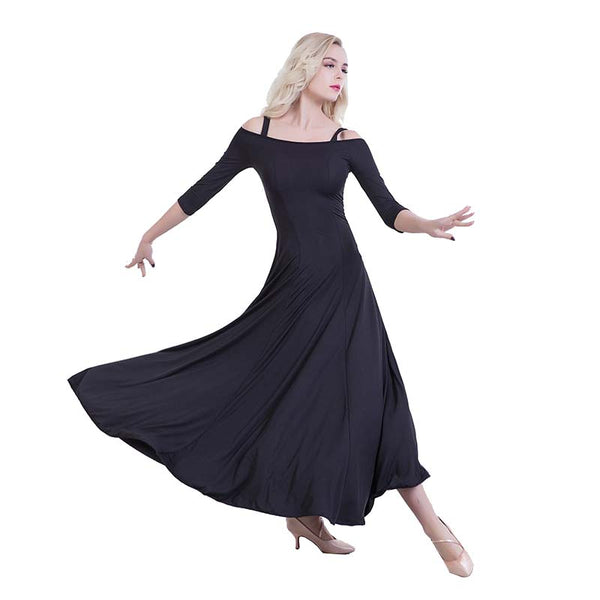 Swing Practice Ballroom Dance Dress-Black