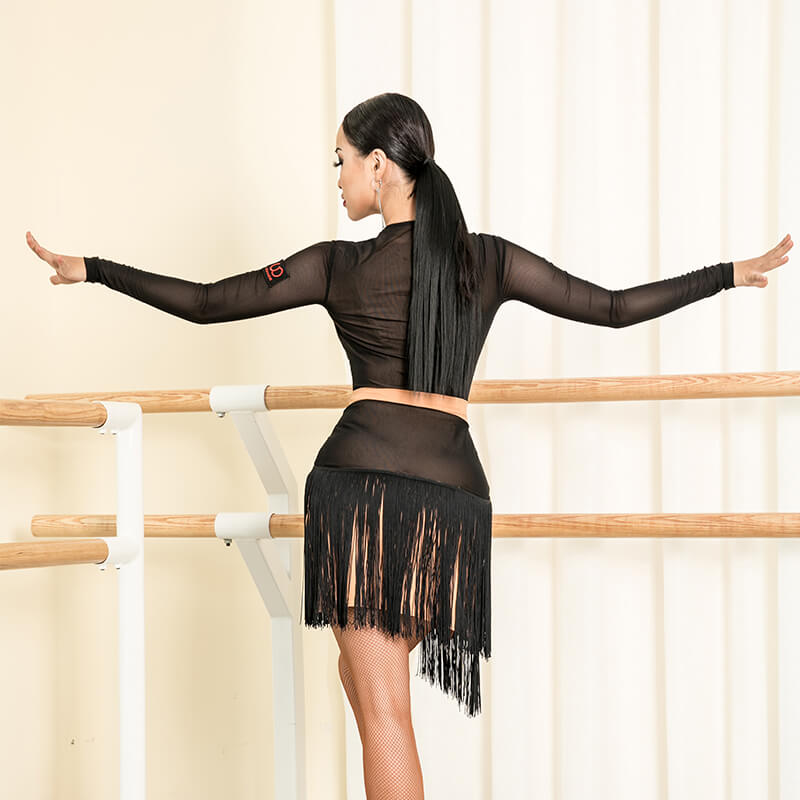 V-Neck Knee-Length Latin Dress with Tassels