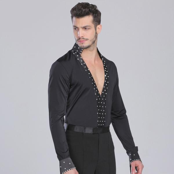 V-neck dance shirt-black-3