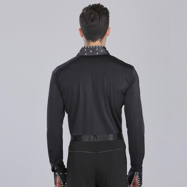 V-neck dance shirt-black-4