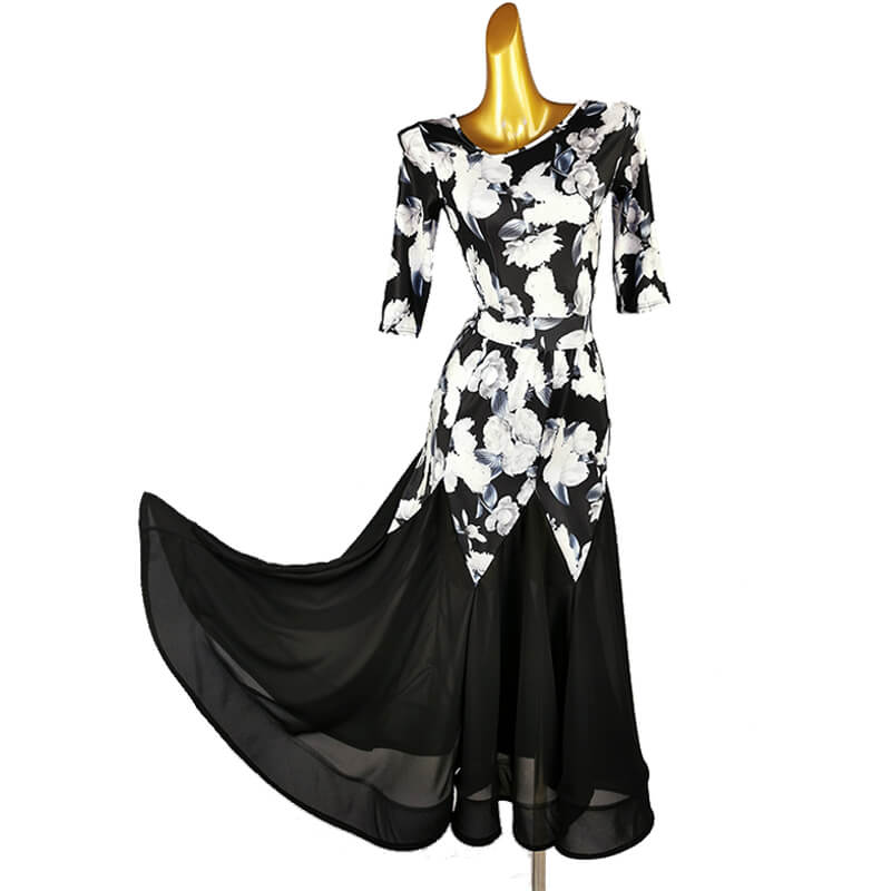 V Neck Flower Print Ballroom Dress