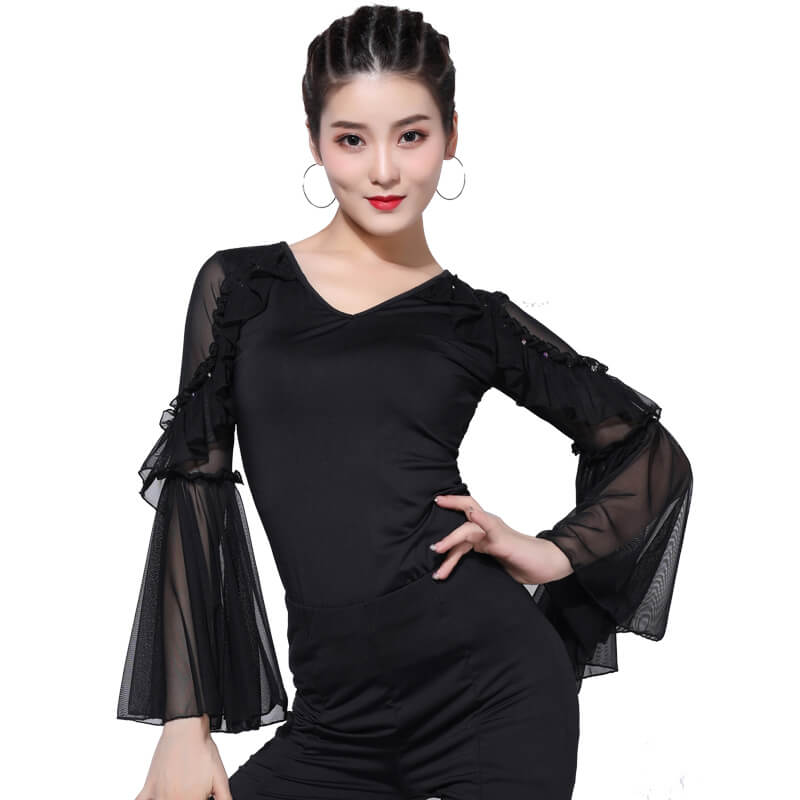V Neck Long Sleeve Latin/Ballroom Top with Mesh
