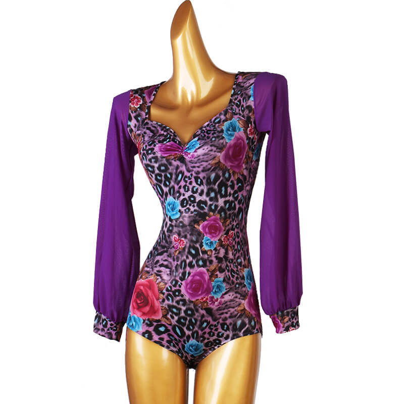 V Neck Long Sleeve Leopard Print Latin/Ballroom Leotard