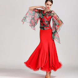 V Neck Butterfly Sleeve Ballroom Dress (Top+Skirt)