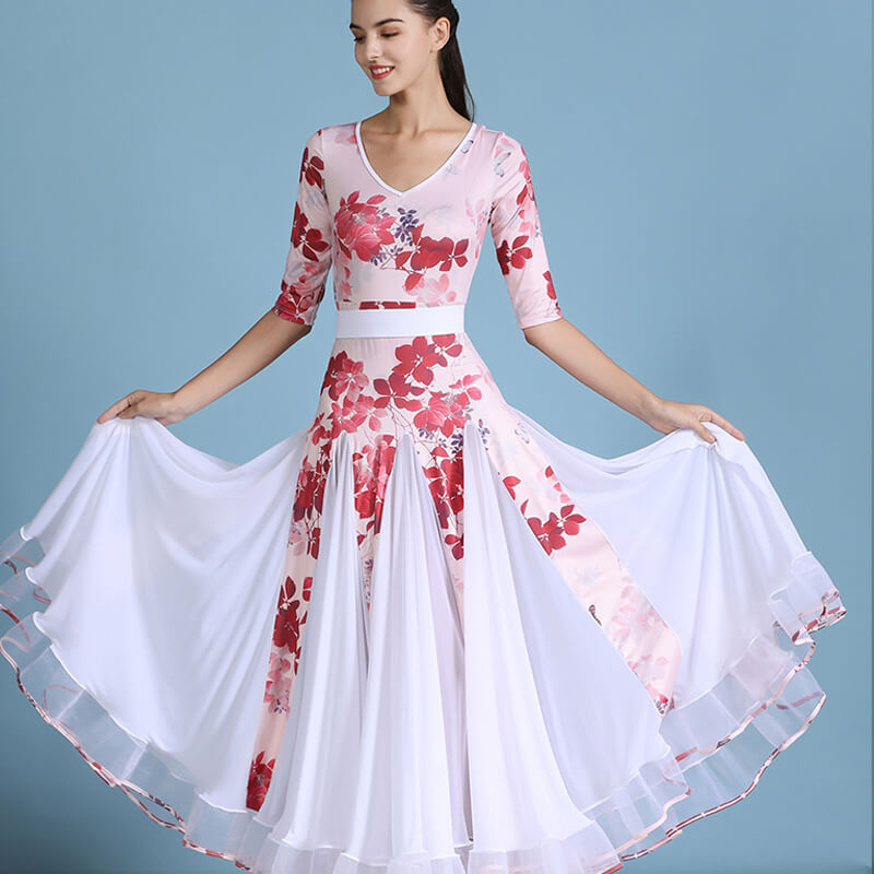 V Neck Half Sleeve Ballroom Dress with Flowers