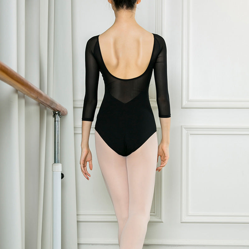 V Neck Long Sleeve Ballet Leotard