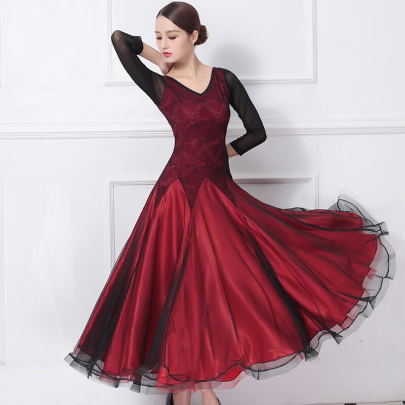V Neck Modern Ballroom Dress with Lace