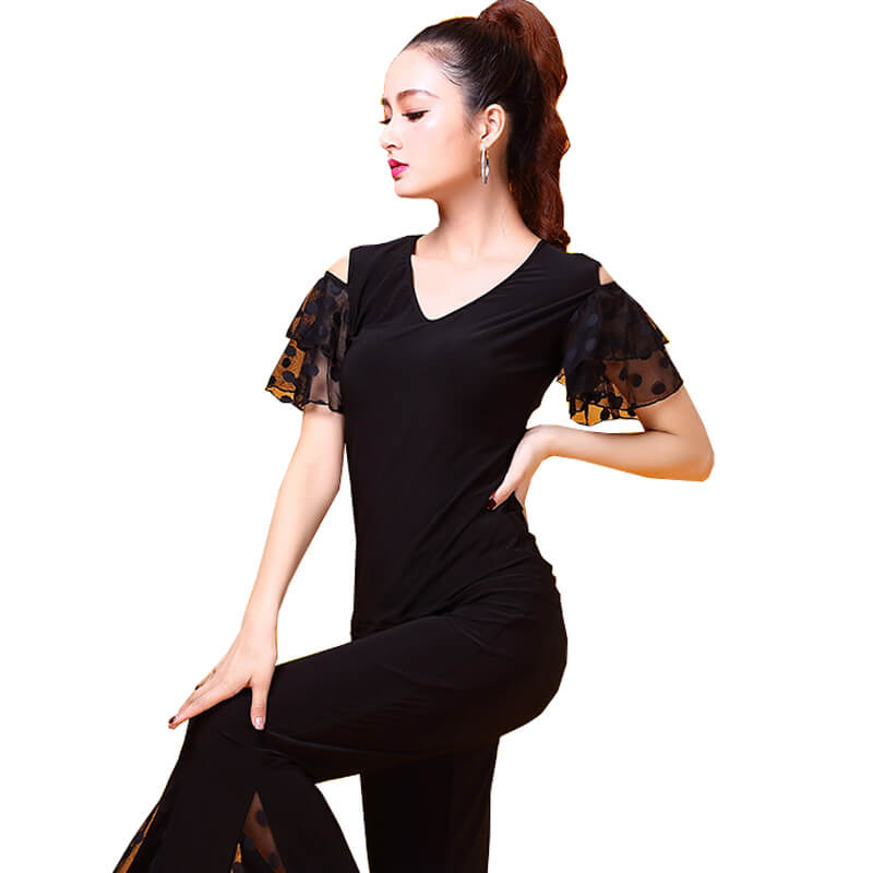 V Neck Puff Sleeve Latin/Ballroom Top