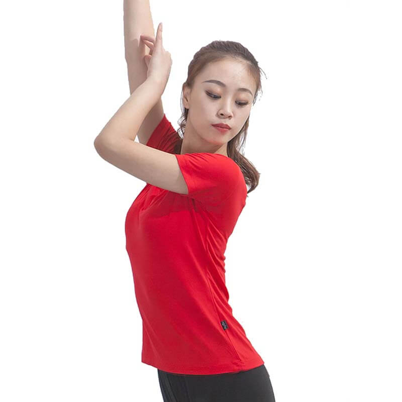 V Neck Short Sleeve Latin/Ballroom Top-Red