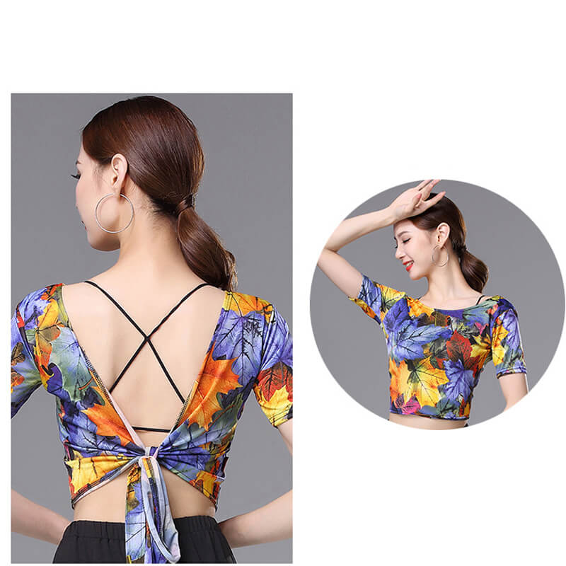 V Neck Short Sleeve Latin Top with Flowers