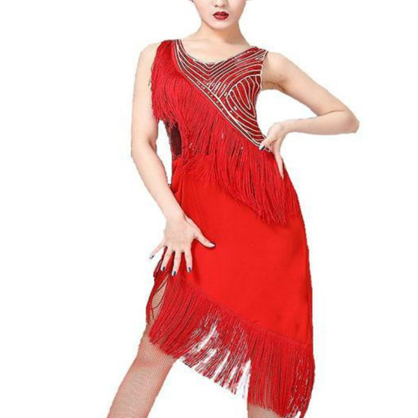 Layered Knee-Length Latin Dress with Tassels