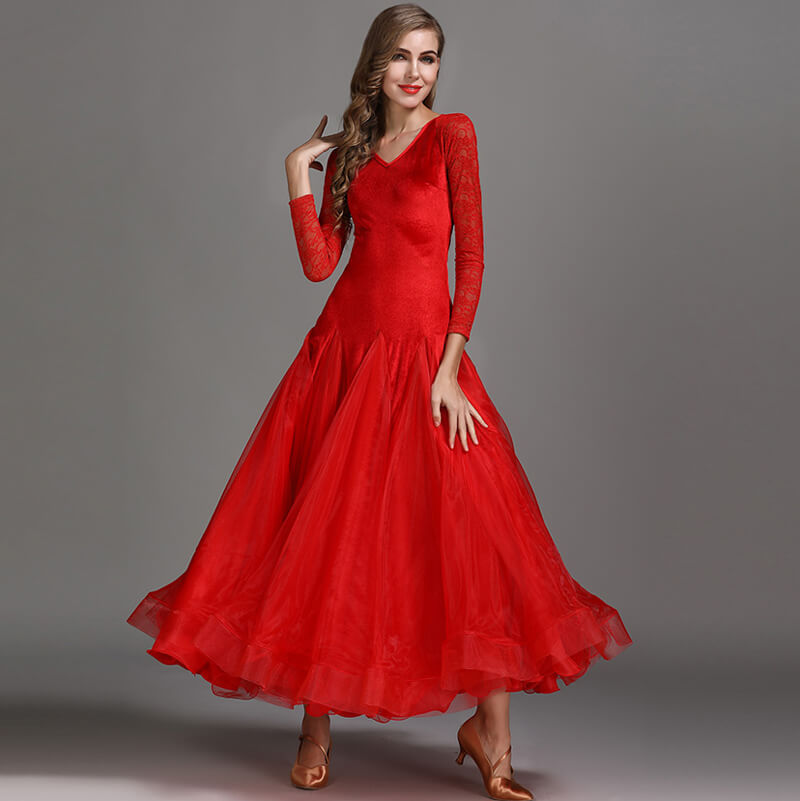 A-Line V Neck Lace Sleeve Dress Red