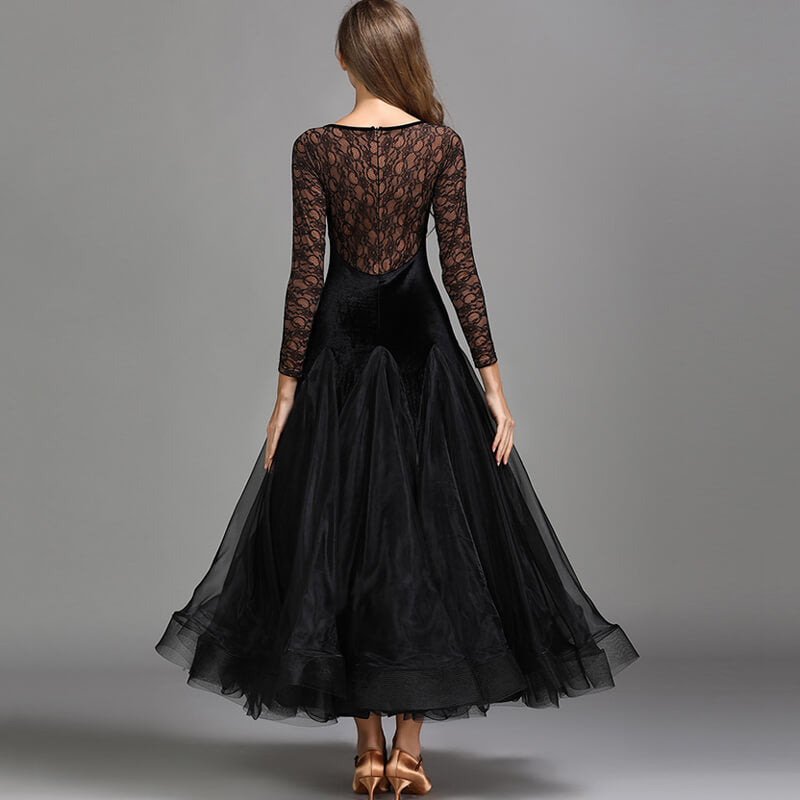 A-Line V Neck Lace Sleeve Dress
