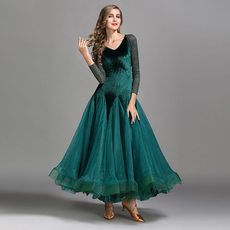A-Line V Neck Lace Sleeve Dress Green