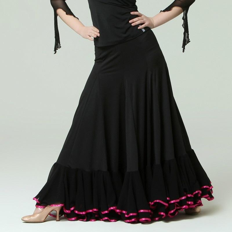 Draped Maxi Ballroom Skirt with Trimming-Black