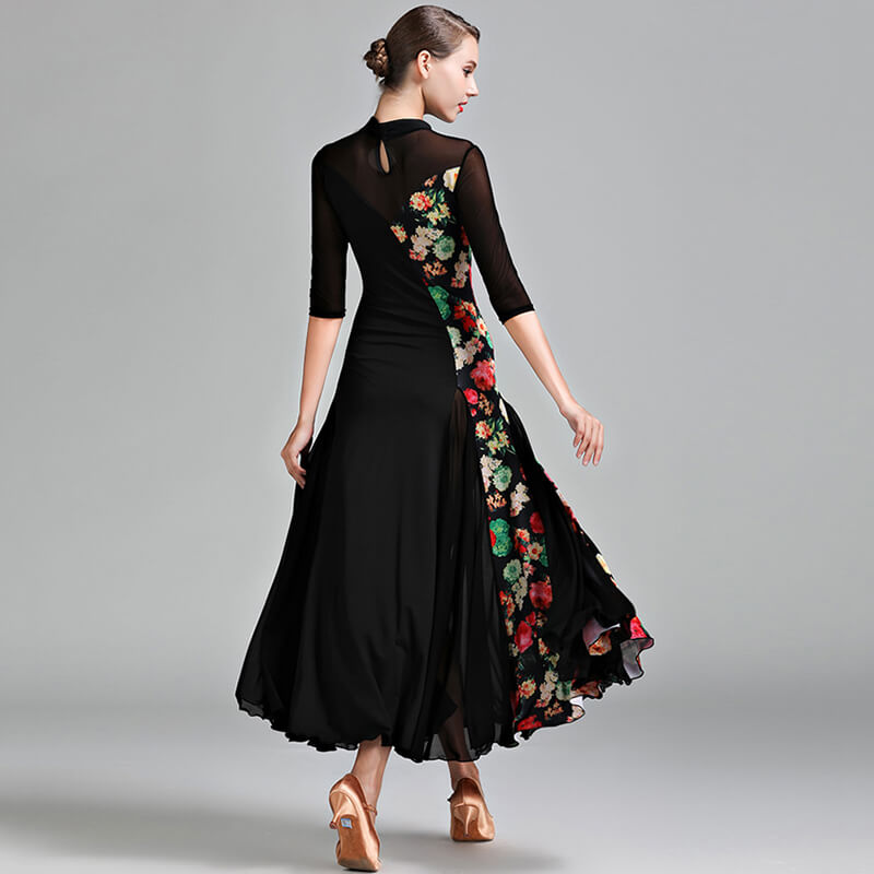 Layered Maxi Ballroom Dress with Flowers